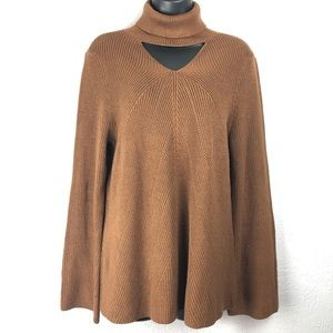 CHICOS brown knit long sleeve sweater turtleneck 8